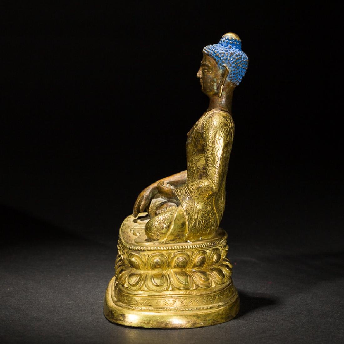 Antique Gilt Bronze Figure of Shakyamuni Buddha, 18th - 2