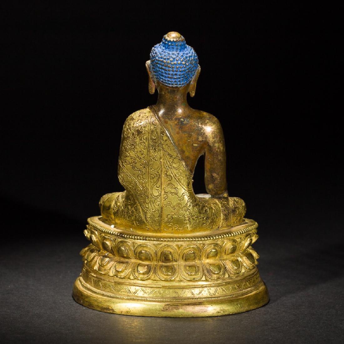 Antique Gilt Bronze Figure of Shakyamuni Buddha, 18th - 3