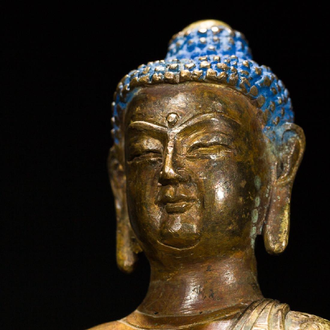 Antique Gilt Bronze Figure of Shakyamuni Buddha, 18th - 6