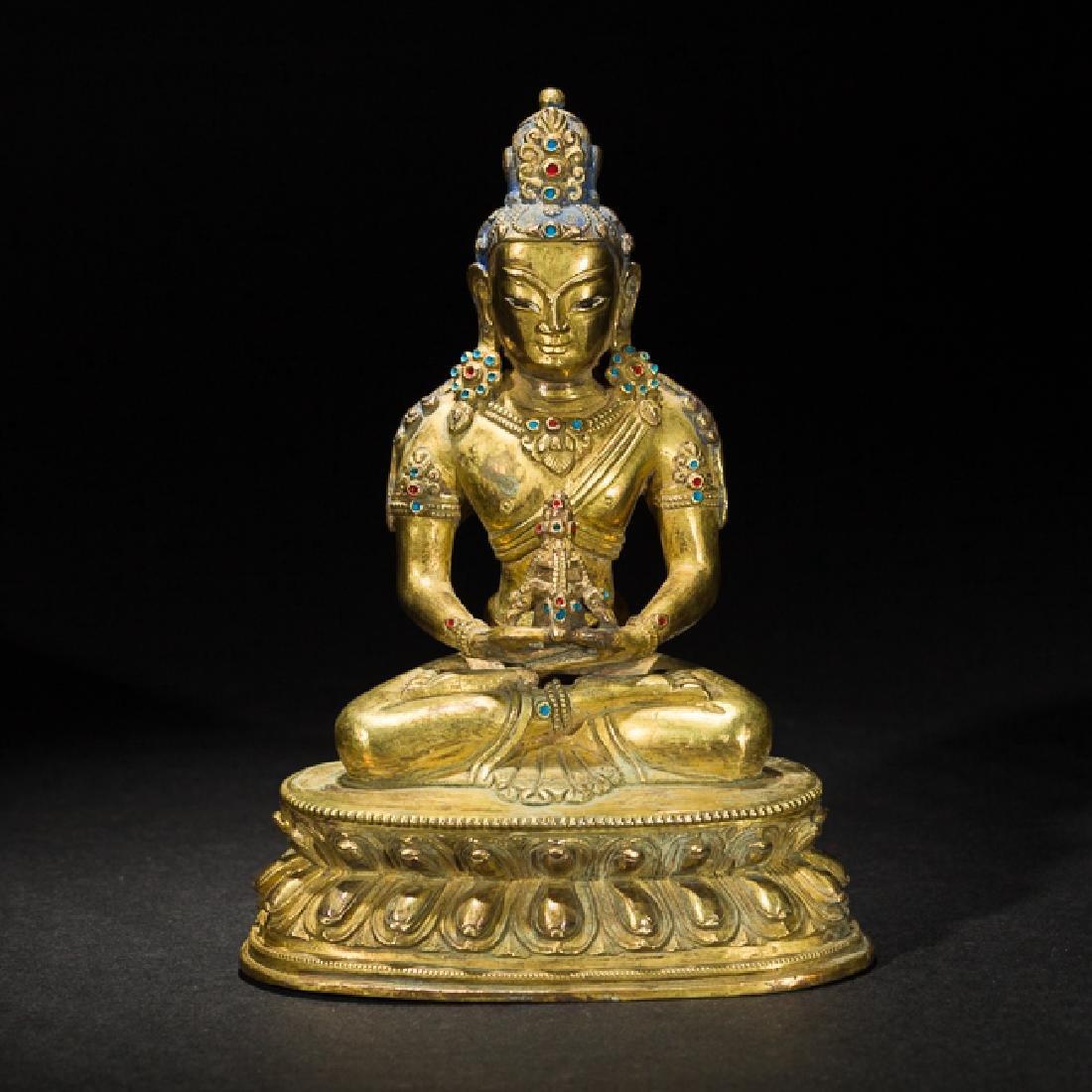 Antique Gilt Bronze Figure of Bodhisattva Buddha, 19th