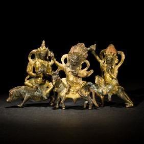 Group Antique Gilt Bronze Dharma Guardian Warriors,