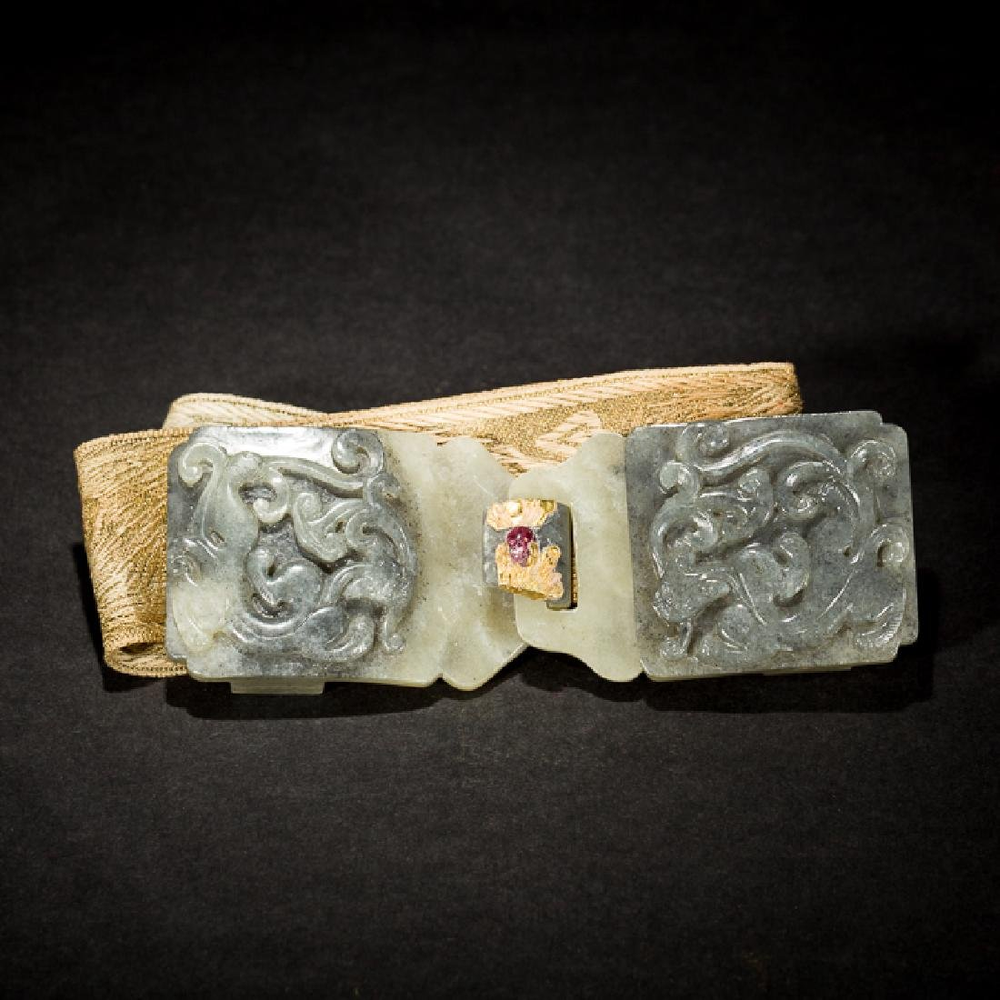 Chinese Antique Jade Garment Hook,19TH