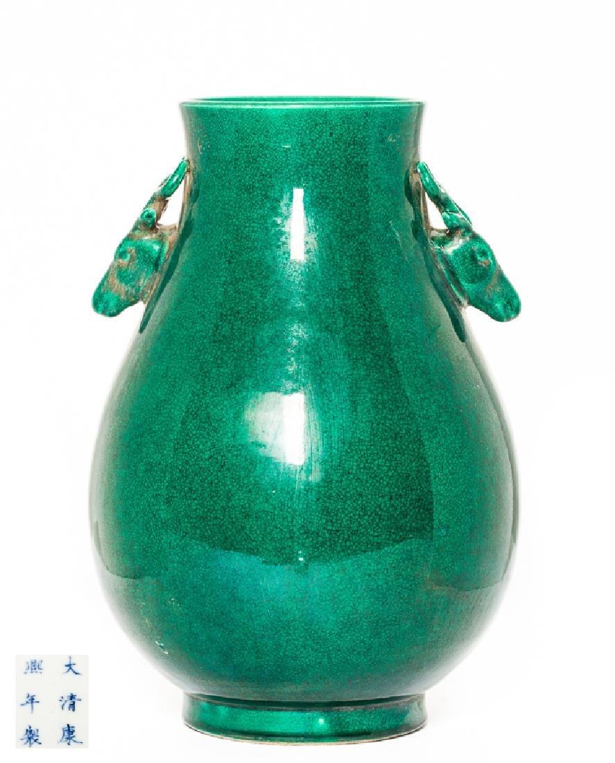Chinese Antique Green Glazed Porcelain Vase, Qing