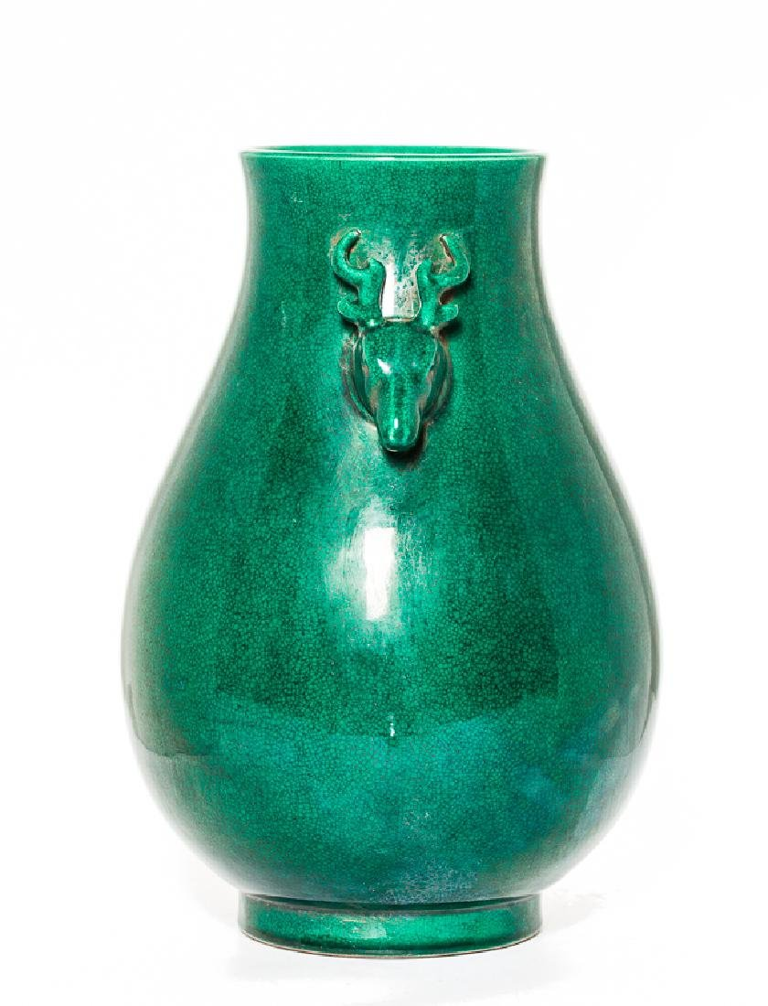 Chinese Antique Green Glazed Porcelain Vase, Qing - 2