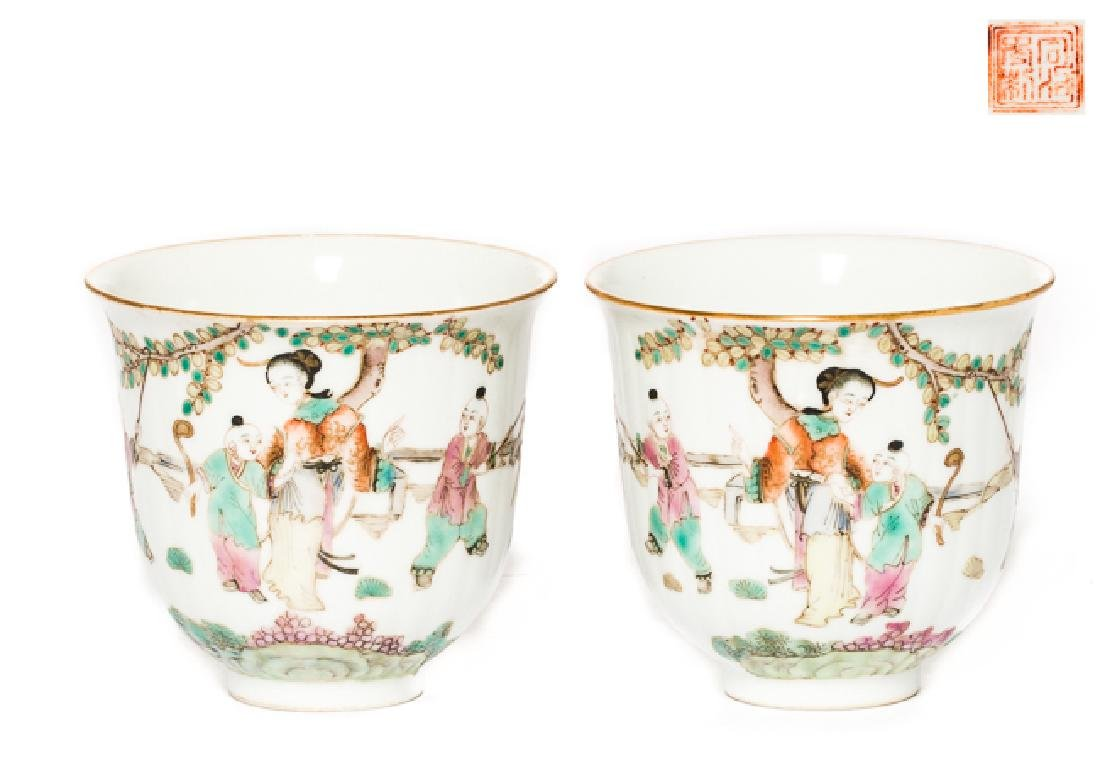 Pair Chinese Antique Rose Famille Tea Cup, Qing Dy