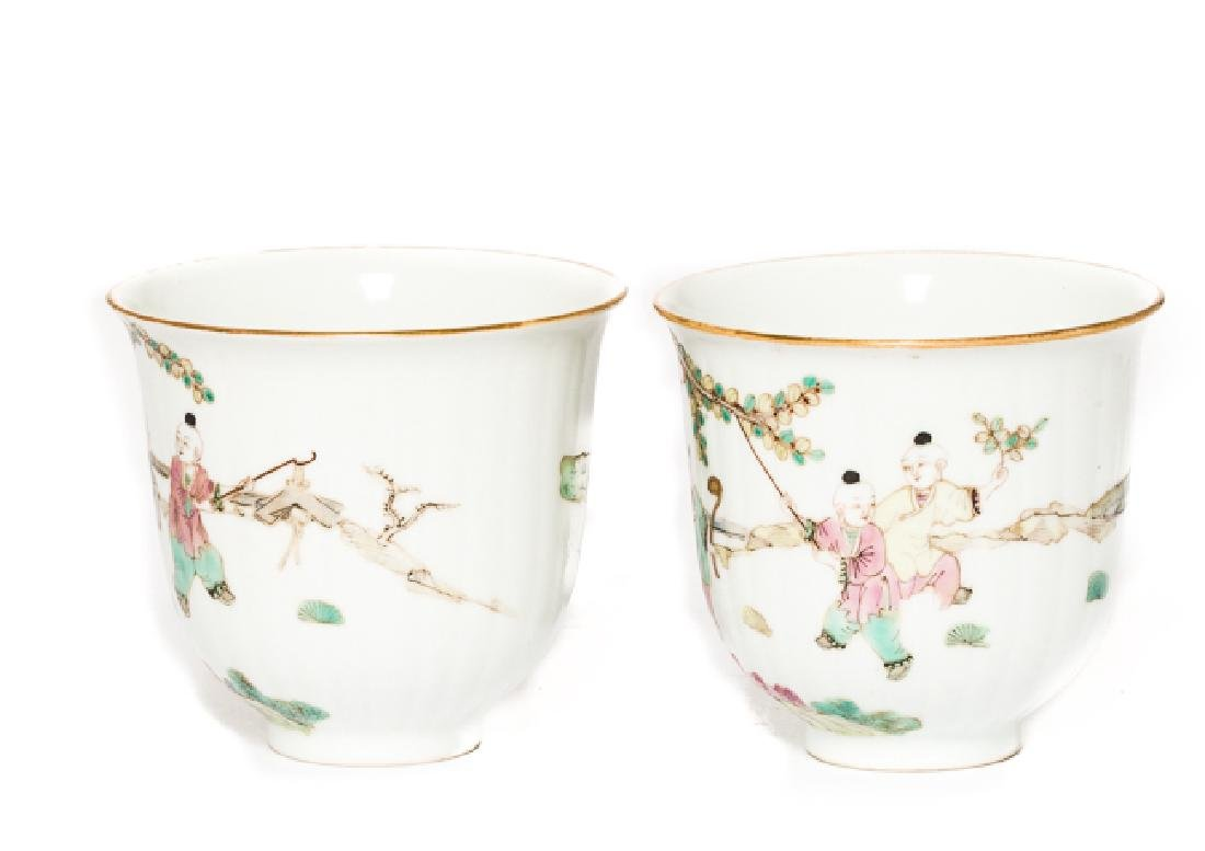 Pair Chinese Antique Rose Famille Tea Cup, Qing Dy - 2