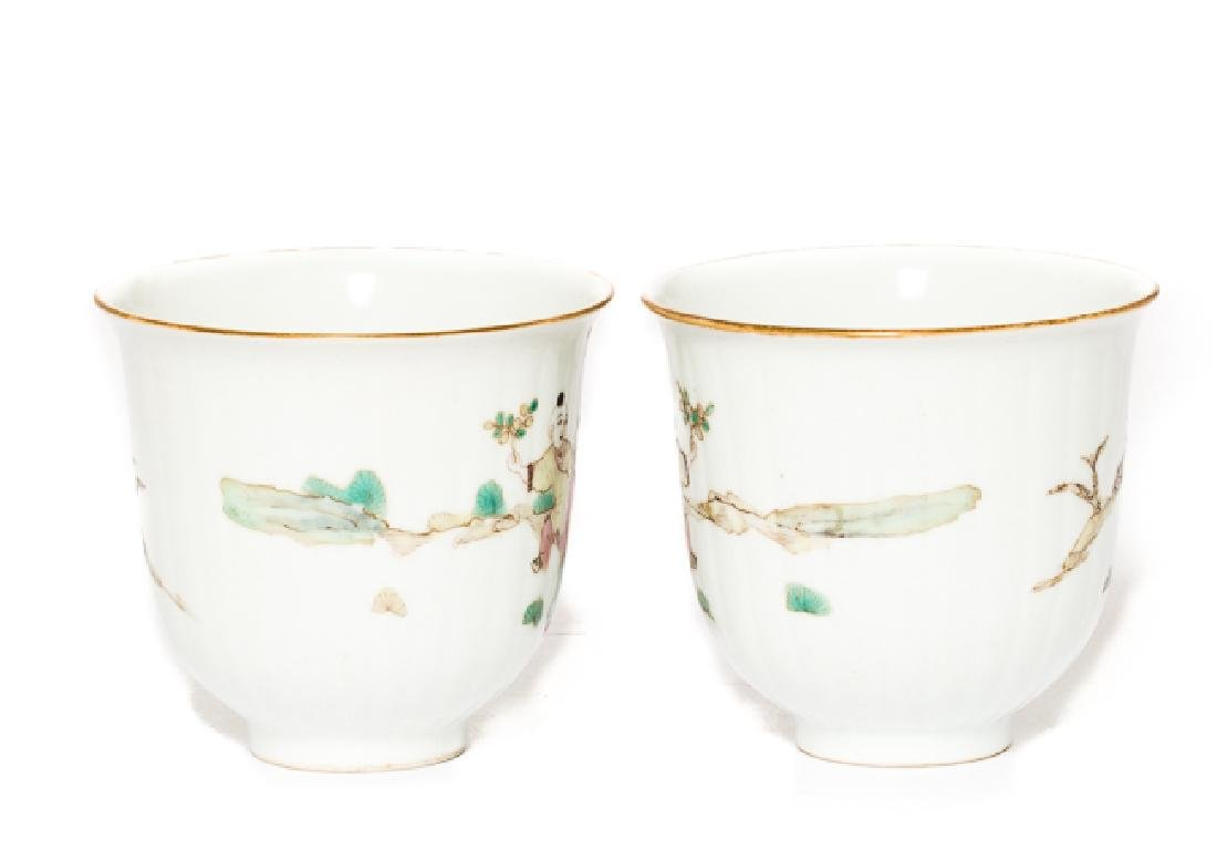 Pair Chinese Antique Rose Famille Tea Cup, Qing Dy - 3