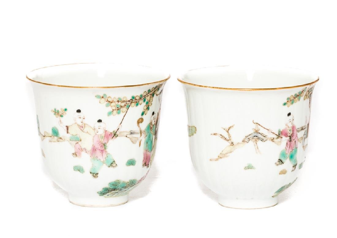 Pair Chinese Antique Rose Famille Tea Cup, Qing Dy - 4