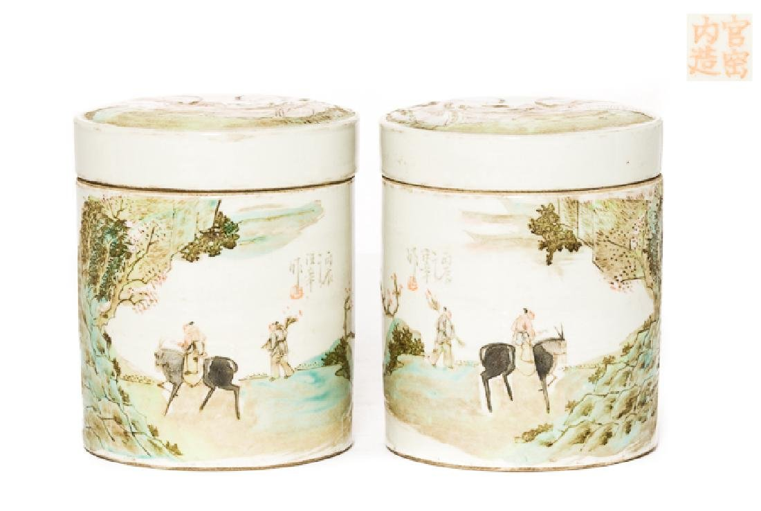 Pair Chinese Antique Rose Famille Porcelain Tea Jar