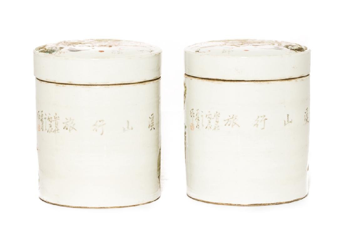 Pair Chinese Antique Rose Famille Porcelain Tea Jar - 3