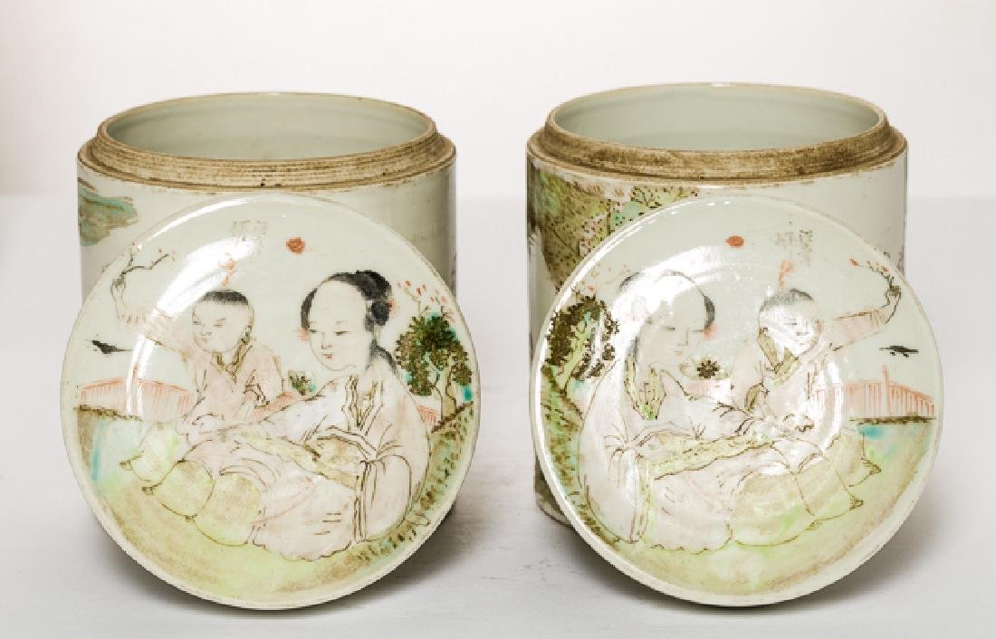 Pair Chinese Antique Rose Famille Porcelain Tea Jar - 5