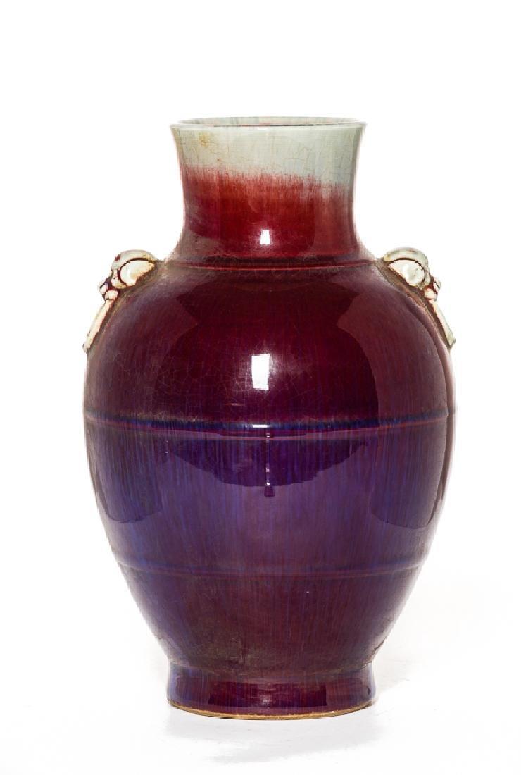 Chinese Antique Flambe-Glazed Porcelain Vase, Qing - 3