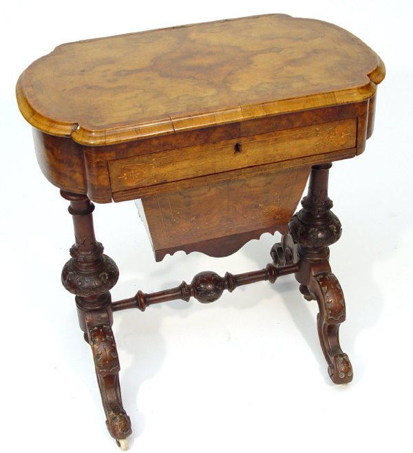 2: Victorian burr walnut workbox with cross banded and