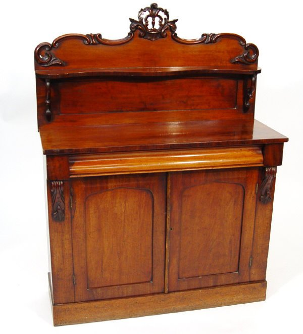 3: Victorian mahogany chiffonier with moulded back and