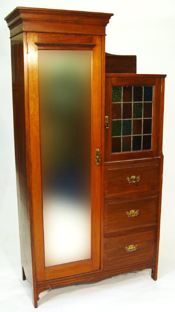 10: Jas Shoolbred walnut compactum wardrobe with moulde