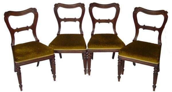 12: Set of four Victorian mahogany dining chairs on ree