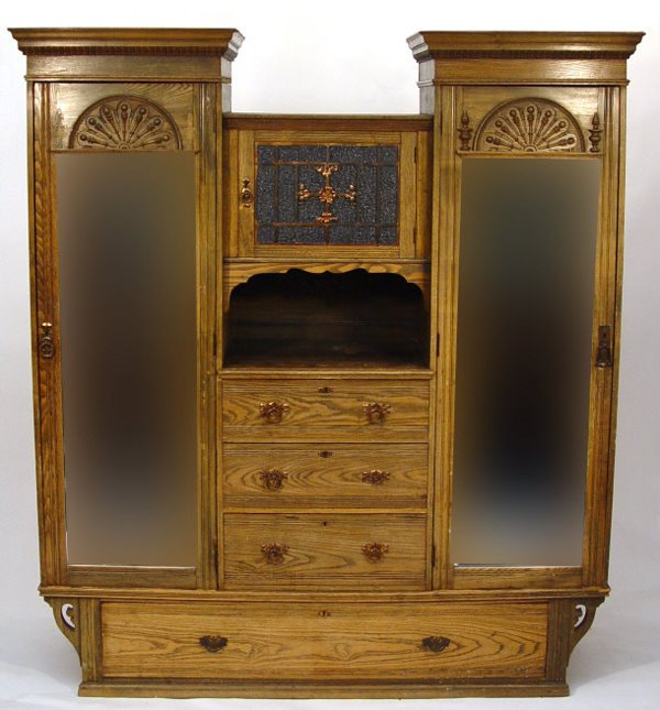 14: Ash Arts and Crafts wardrobe, fitted with a central