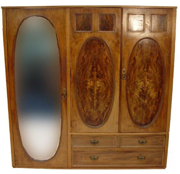16: Victorian Maple & Co mahogany triple wardrobe, fitt