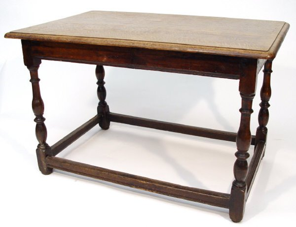 20: 18th Century oak rectangular table with later top,