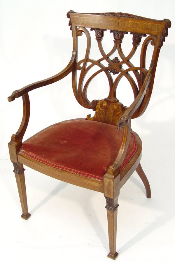 24: Victorian inlaid mahogany open armchair, with shiel