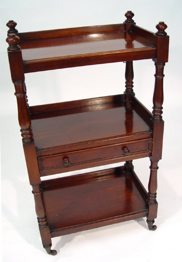 1: Victorian mahogany three tier buffet of small propor