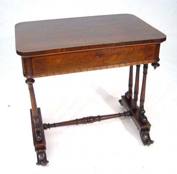 10: Victorian rectangular mahogany side table, fitted w