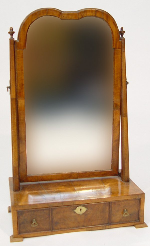 18: Victorian walnut bevel edged toilet mirror, the cro