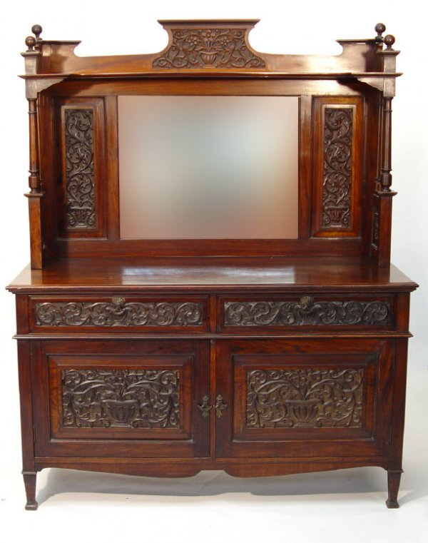 20: Victorian mirror backed rosewood sideboard with car