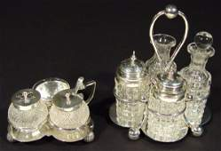 932 Two Victorian silver and cut glass cruet sets one