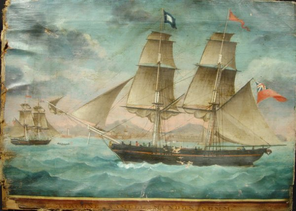 1030: Oil onto canvas of a two masted British sailing s