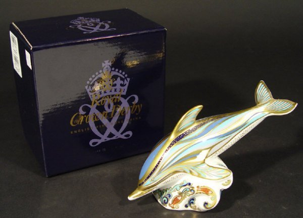 1102: Boxed Royal Crown Derby striped dolphin paperweig