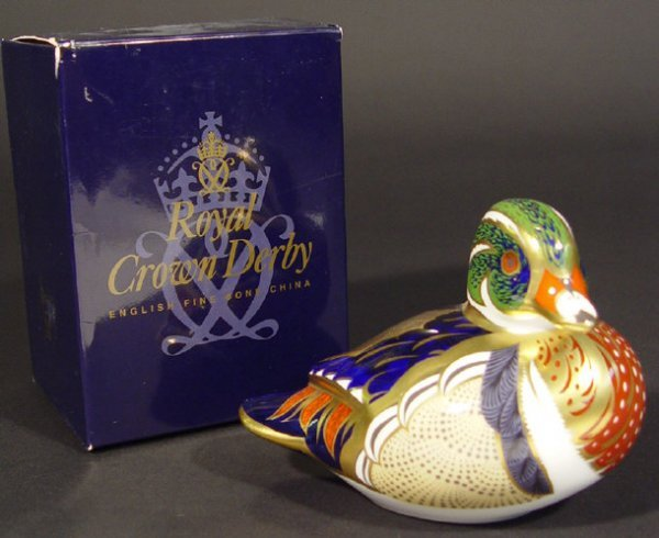 1112: Boxed Royal Crown Derby Carolina duck paperweight