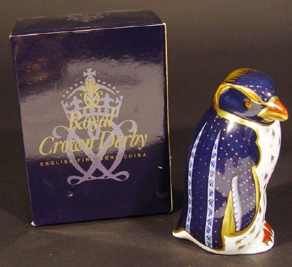1120: Boxed Royal Crown Derby rockhopper penguin with c