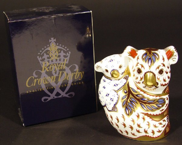 1122: Boxed Royal Crown Derby koala and baby paperweigh