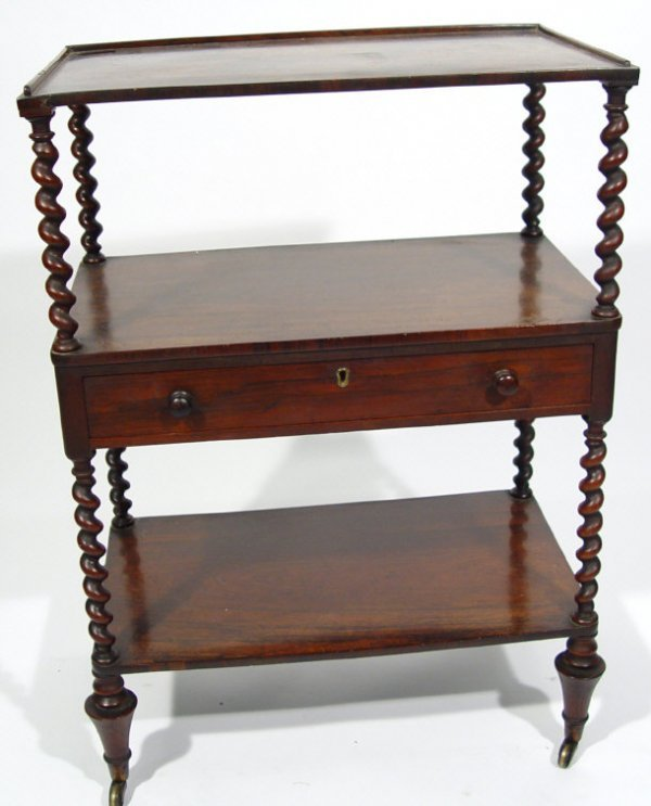 1: 19th Century rosewood three tier whatnot with barley