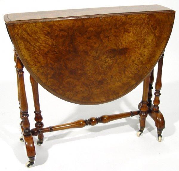 5: Victorian burr walnut D-end Sutherland table on turn