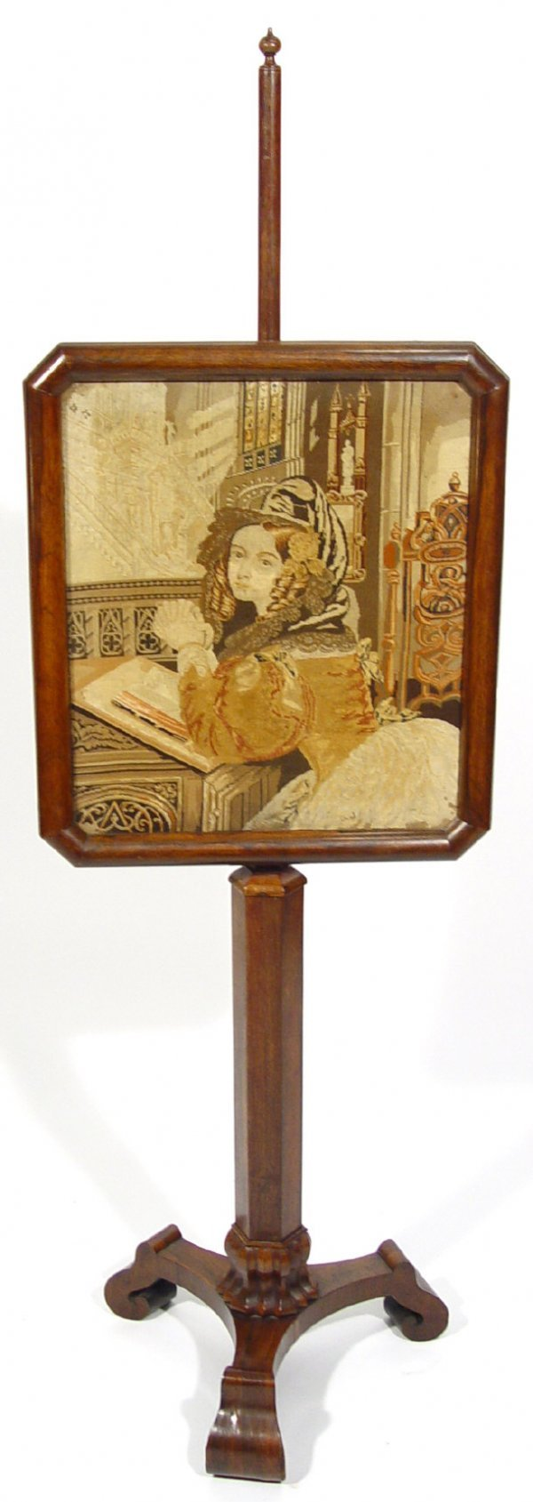 8: 19th Century rosewood pole screen, the glazed rectan