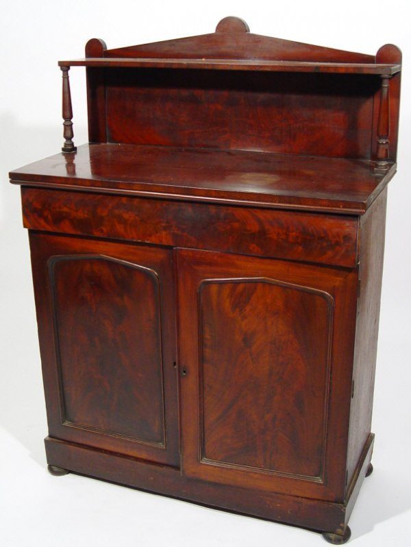 9: Victorian mahogany chiffonier, fitted with an open s