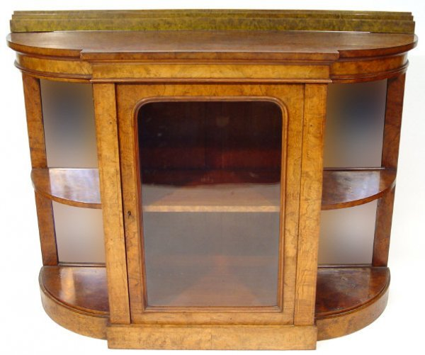 11: Victorian walnut credenza bookcase, fitted with a c