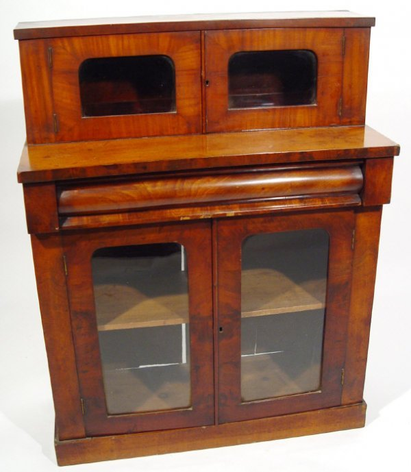 12: Victorian mahogany chiffonier bookcase, fitted with