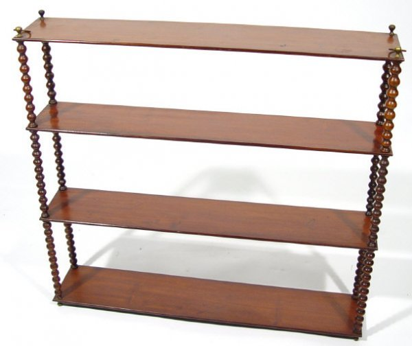 18: Victorian mahogany hanging four shelf bookcase with