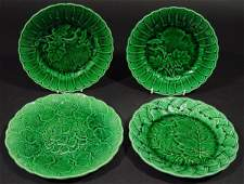 107 Four Victorian Majolica green leaf plates each wi
