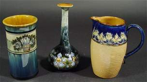 362 Two Royal Doulton stoneware vases and a jug each
