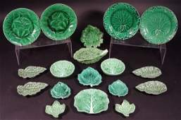 472 Collection of Portuguese Majolica green leaf bowls