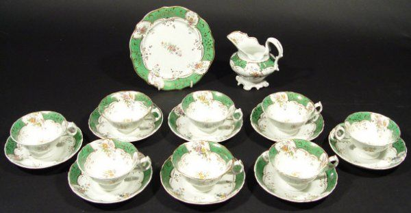 474: Victorian eight place china tea service, hand colo