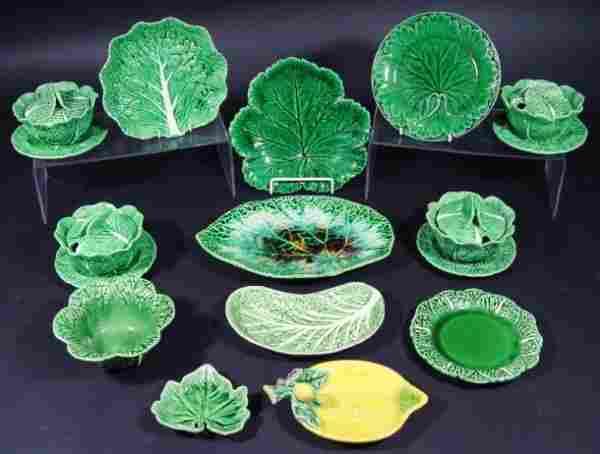 Two Victorian Wedgwood Majolica green leaf plates,