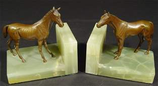 548 Pair of Austrian cold painted bronze horses mounte