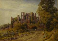 982: Unsigned watercolour of Warwickshire Castle in a g