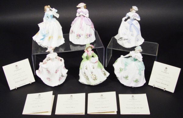 1201: Set of six Royal Worcester figurines from the Swe