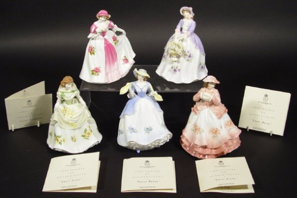 1202: Set of five Royal Worcester figurines from the Sw